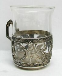 Outstanding Vintage German Silver Griffon And Crystal Tea Cup