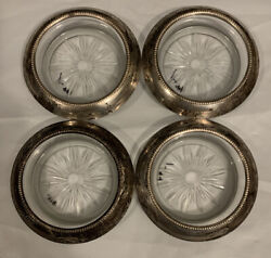 Frank Whiting Sterling Silver Coaster Ashtray Silver Rim 4andrdquo Cut Glass Bottom 04