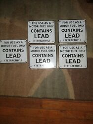 Porcelain Sign--motor Fuel Onlycontains Leadtetraethyl-7 X 6flat