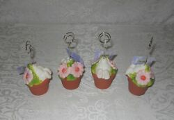 4 Easter Bunny Flower Pot Table Place Card Holders Photo Clips Nwt Free Shipping