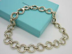Estate And Co Gorgeous Sterling Silver Entwined Circles 66.5 Gram Necklace