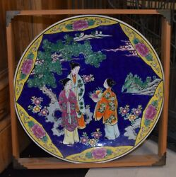 Antique Chinese Hand-painted Enamel On Porcelain Famille Rose Charger Plate