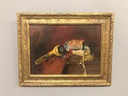 "Signed J. F. Peto 80 Still Life Of Pipe Tobacco And Matches 13 14"" X 17"""