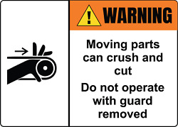 Warning Do Not Operate With Guard Removed   Adhesive Vinyl Sign Decal