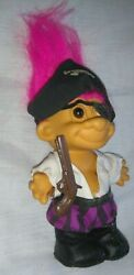 Russ Berrie Pirate Troll Toy Figure Doll Pink Hair Brown Eyes W. Eye Patch And Gun