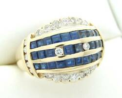 Antique Diamond Sapphire Dome Vintage French Ring 18k