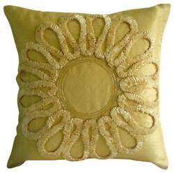 12x12 Inch Silk Toss Throw Pillow Decorative Gold Ribbon - We All Blossom