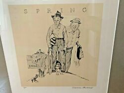 1974 Hand Signed Norman Rockwell Spring Four Seasons Spectacular Framed