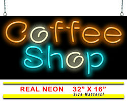 Coffee Shop Neon Sign   Jantec   32 X 16   Donuts Book Store Breakfast Drinks