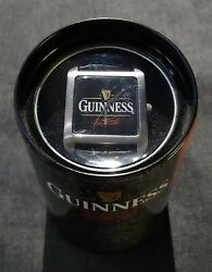 Guinness Wrist Watch In Collectible Metal Can Rare New Battery Leather Band