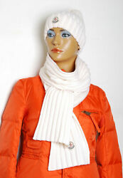Moncler Women White Beanie Hat&Scarf 100% Wool Knitted Logo Thermal Set One Size