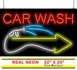 Car Wash With Right Arrow Neon Sign   Jantec   32 X 20   Auto Clean Body Shop