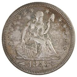 Raw 1853-o Seated Liberty 25c W/ Arrows And Rays New Orleans Mint Silver Quarter