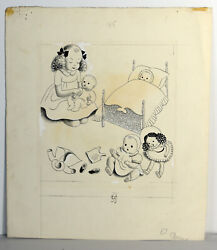 7 Original Antique 1941 Ink Sketch Helen Moore Sewell Girl And Doll Wall Art