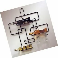 Jandj Wire Contemporary Wine Bottle And Glass Holder