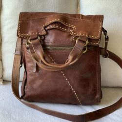 Lucky Brand Brown Abbey Road foldover Crossbody Purse Bag Lamb Leather $125.00