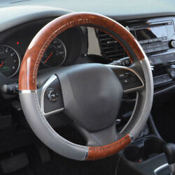 Universal Wood Grain Steering Wheel Cover For Car Suv Lux Grip Gray Syn Leather