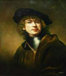 Painting Signed Self-portrait Oil As A Young Man After Rembrandt