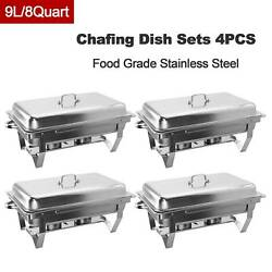 Chafer Chafing Dish Sets W/ Foldable Legs Stainless Steel Pans 9l/8q 4pack