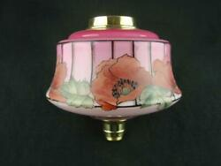 Antique Pink Oil Lamp Font With Painted Poppy Decoration, Screw Fit Collar