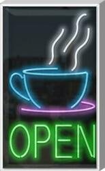 Outdoor Coffee Cup Open Neon Sign   Jantec   22x 37   Cafe Diner Tea Sweets