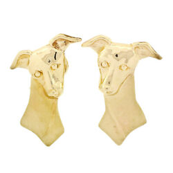 Vintage 14k Yellow Gold Jack Russell Terrier Dog's Head Long Detailed Earrings