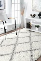 Nuloom Trellis Cozy Soft And Plush Shag Accent Rug 2and039 X 3and039 White
