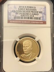 2016-s Presidential Dollar Gerald Ford Early Releases Pf70 Ucam Ngc