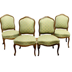 Antique Chairs, Side, 4 French Louis Xv Style Upholstered Walnut,1800's, Green