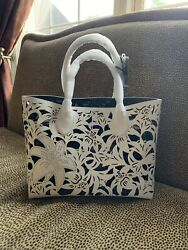 Women Tosca Blu Italian  Hand Bag Ivorywhite Large Leather Tote New With Tags