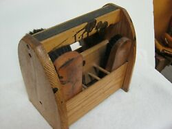Vintage Wooden Shoe Shine Box With Brushes. Found In An Old NYC Barber Shop