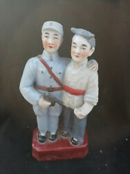 Historic Old Cultural Revolution Wucai Porcelain Red Army Soldier Farmer Figure
