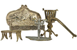 Sterling Silver And Other Metals, Set Of Five Miniature Furniture, Amazing