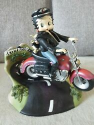 Extremely Rare Betty Boop Riding On Motorcycle Moving Figurine Music Box Statue