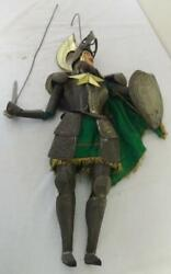 Pair Of Unusual Antique Marionette Puppets Wearing Tin Knightand039s Suits Of Armor