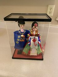 Korean Male And Female Silk Dolls In Traditional Dress Mounted In A Plastic Case