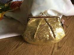 NWT Sequined Gold Clutch Evening Bag With Chain $21.99