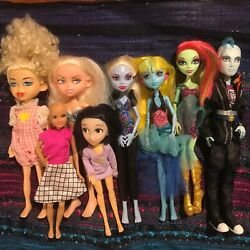 Huge 8 Lot Dolls Monster High Barbie Incredibles 2 With Outfits D1
