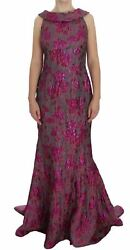 Dolce&Gabbana Women Pink Dress Silk Floral Brocade Maxi Sheath Gown Size IT 44 M
