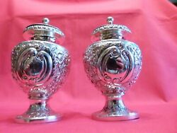 Fabulously Decorated And Heavy 1924 Solid Silver Salt And Pepper Cruet Set. 151g