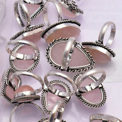 Natural Rose Quartz Ring 925 Sterling Silver Handmade Rings Size 5 To 12