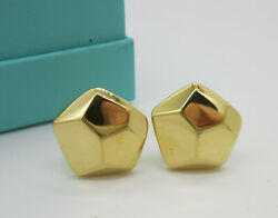 And Co Vintage Rare Large 18k Yellow Gold Facet 13.6 Gram Pierced Earrings