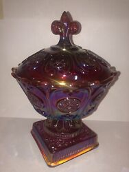 Fenton Handcrafted America Glass Candy Dish With Lid - Red