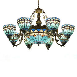 Large Led Chandelier Blue Stained Glass Baroque Shade Pendant Fixtures