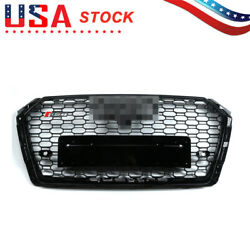 For 2017-2018 Audi A4/s4 B9 Rs4 Style Honeycomb Mesh Hex Grille Black W/ Quattro