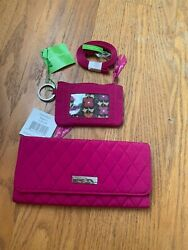 Vera Bradley Trifold Wallet , Zip Id Case And Lanyard Magenta Lot Of 3 Nwt