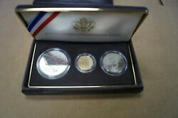 Us Mint Congressional Coins 1989 Three Coin Uncirculated Set Gold And Silver