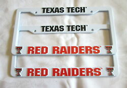 Two 2 Texas Tech Red Raiders Embossed License Plate Frames 13 - New