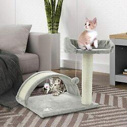 ScratchMe Tree Condo with Scratching Post Cat Tower Pet Play House with Toy