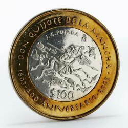 Mexico 100 Pesos 400th Anniversary Of Don Quijote Silver Coin 2005